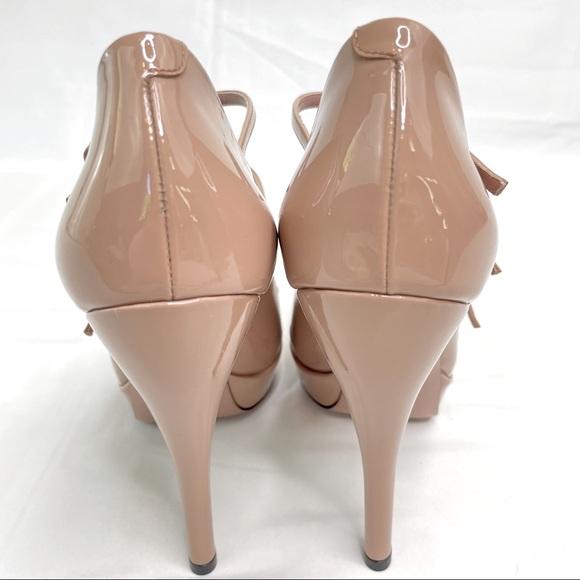 Anyi Lu Womens 10 40 Leather Peep Toe Heels Mary Jane